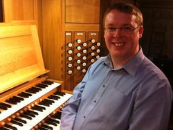 Andrew West at the organ of Sherborne Abbey, Dorset.