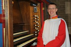 Andrew West at the organ of St Luke, Winton, Bournemouth