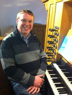 Andrew West at the organ of Sherborne School Chapel