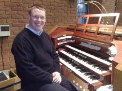 Andrew West at the Organ of Harrow Baptist Church