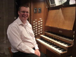 Andrew West at the organ of St Mary, Ross on Wye